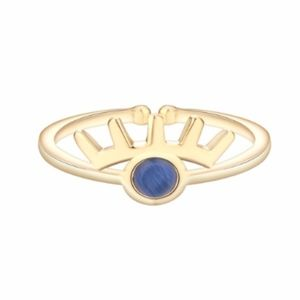 Jewelry - Blue Crystal Quartz 18K Gold Crown Ring